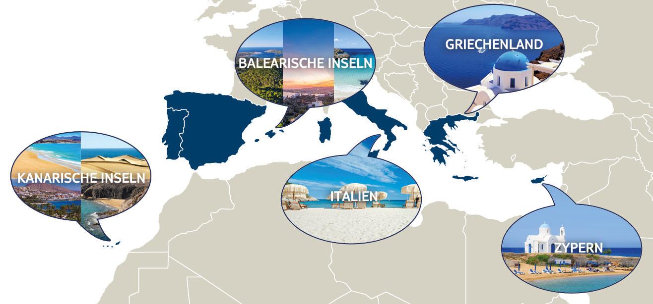Karte TUI Reisetrends 2016 Europa