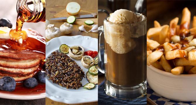 Kanadisches Essen: Pancakes mit Ahornsirup, kanadischer Wildreis, Root Beer, Poutine