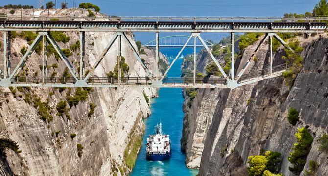Kanal von Korinth, Peloponnes